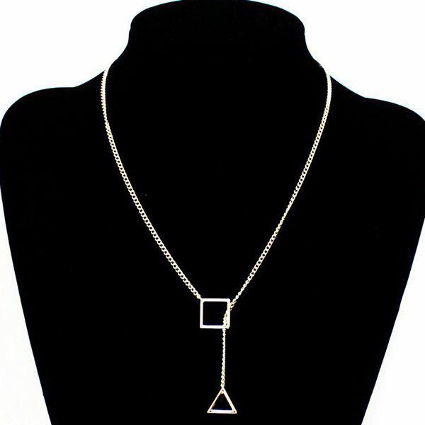 Vintage Cut Out Triangle Lariat Necklace - SILVER