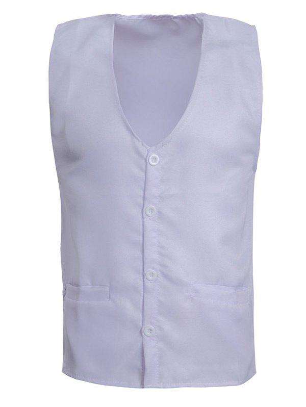 Solid Color V-Neck Single Breasted Design Men's Waistcoat - WHITE 3XL