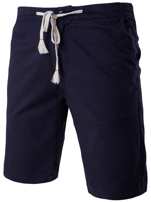 Chic Faux-Pockets Design Drawstring Waistband Shorts For Men - CADETBLUE L