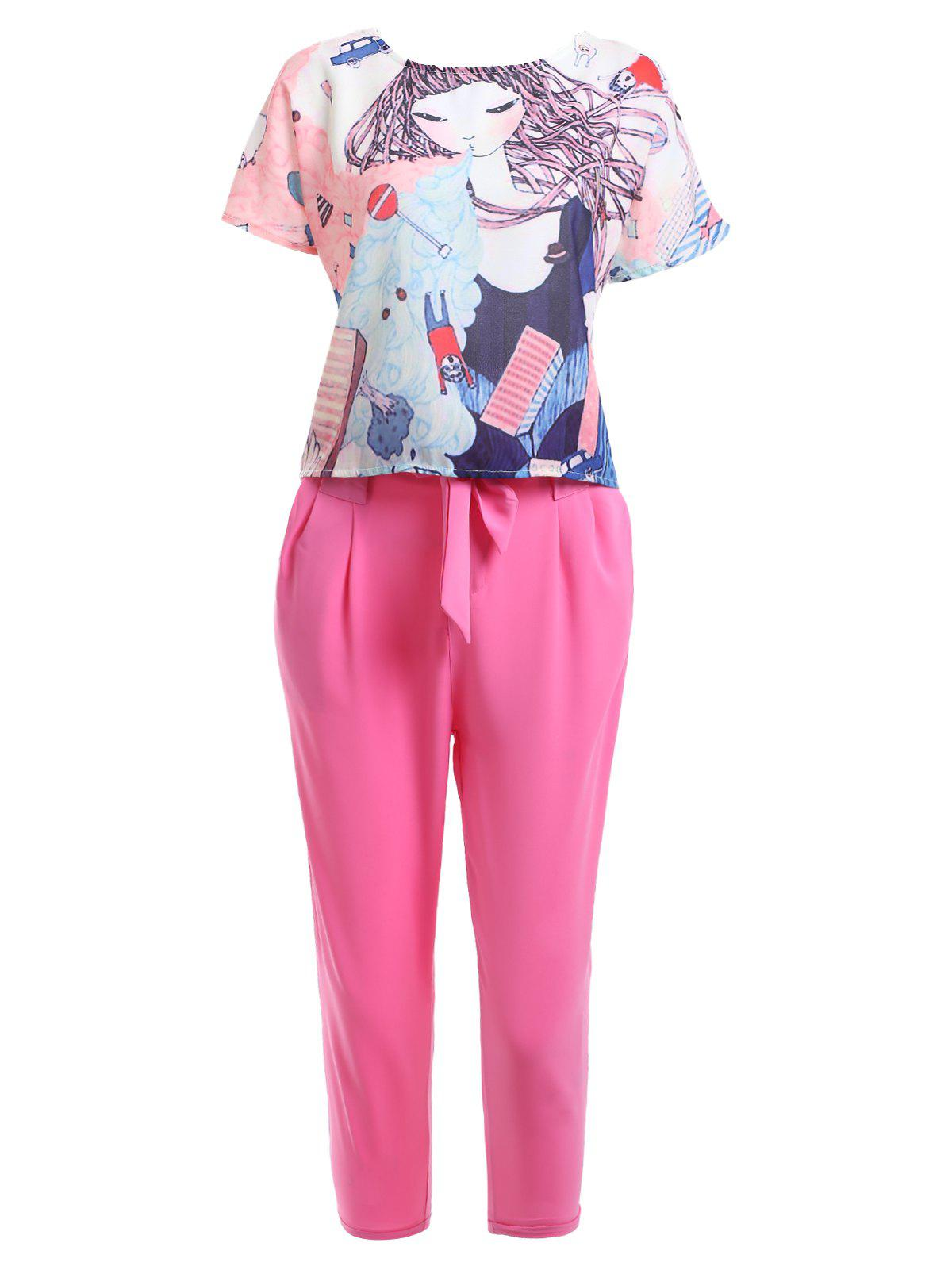 Cute Cartoon Print T-Shirt + Pocket Design Solid Color Pants Women's Twinset printed jacket and pocket design pants twinset