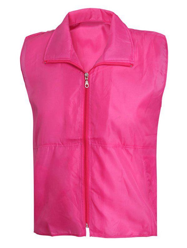 Turn-Down Collar Solid Color Zip-Up Men's Waistcoat - ROSE RED 3XL