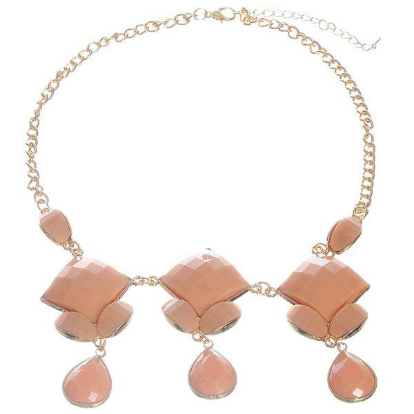 Vintage Resin Square Water Drop Necklace - PINK