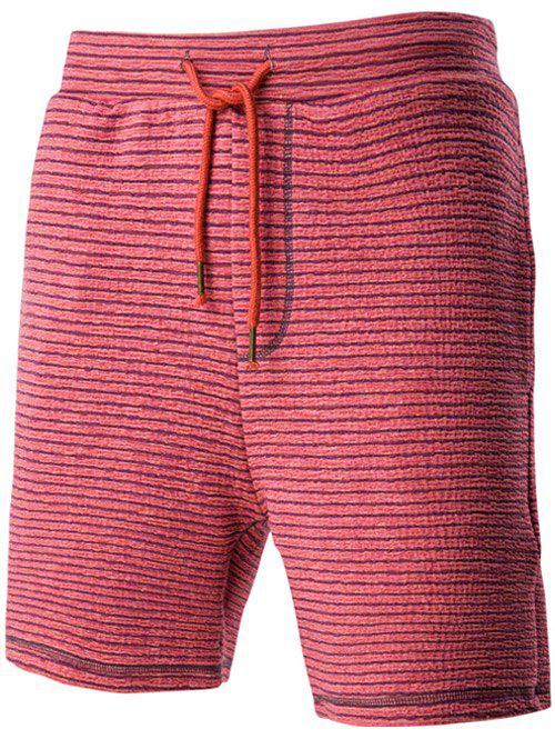 Casual Drawstring Waistband Design Striped Shorts For Men - RED 2XL