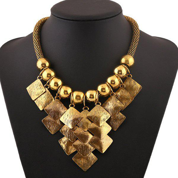 Vintage Rhombus Metal Fringe Bead Statement Necklace - GOLDEN
