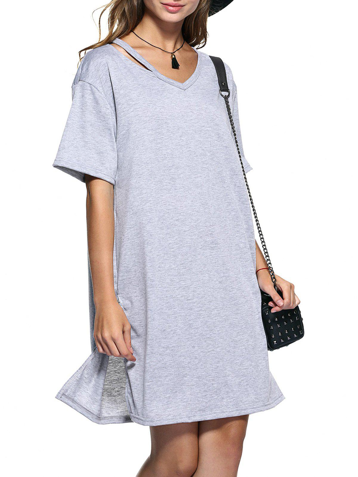 Cut Out Slit Pure Color Boyfriend Tee - GRAY M