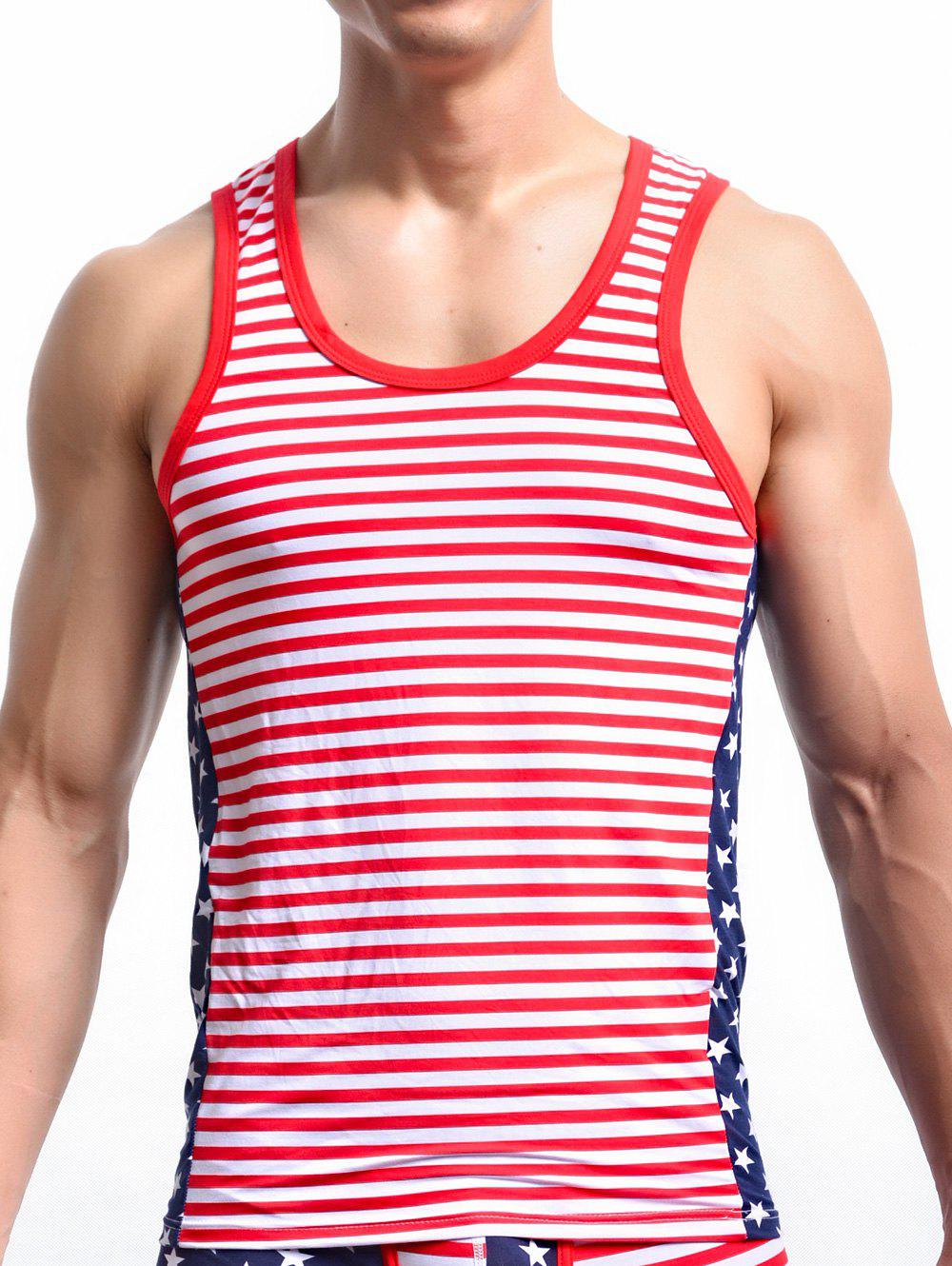 Stripe and Star Print Round Neck Men's Tank Top - RED XL