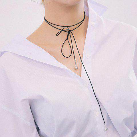 Vintage Ball Shape Layered Wrap Necklace - BLACK