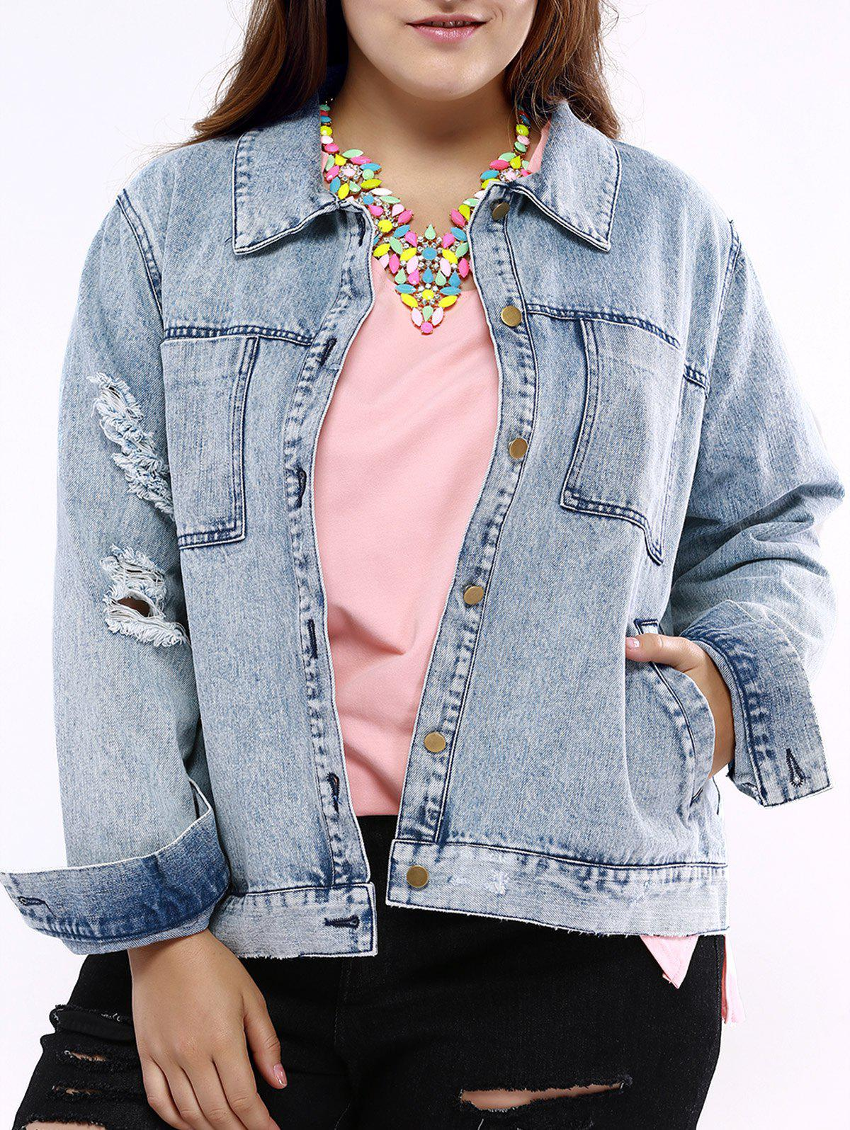 Plus Size Chic Frayed Denim Jacket - LIGHT BLUE 3XL