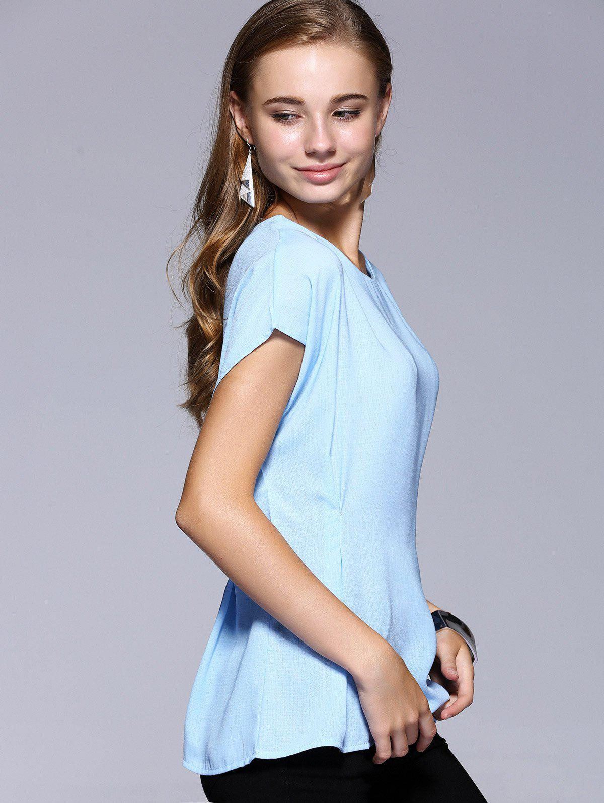 Romantic Date Side Bowknot Embellished Waisted Blouse - LIGHT BLUE XL