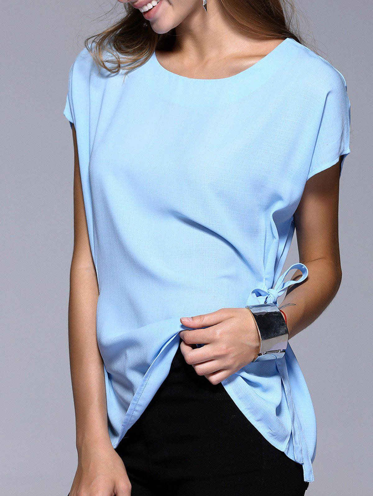 Romantic Date Side Bowknot Embellished Waisted Blouse - LIGHT BLUE L