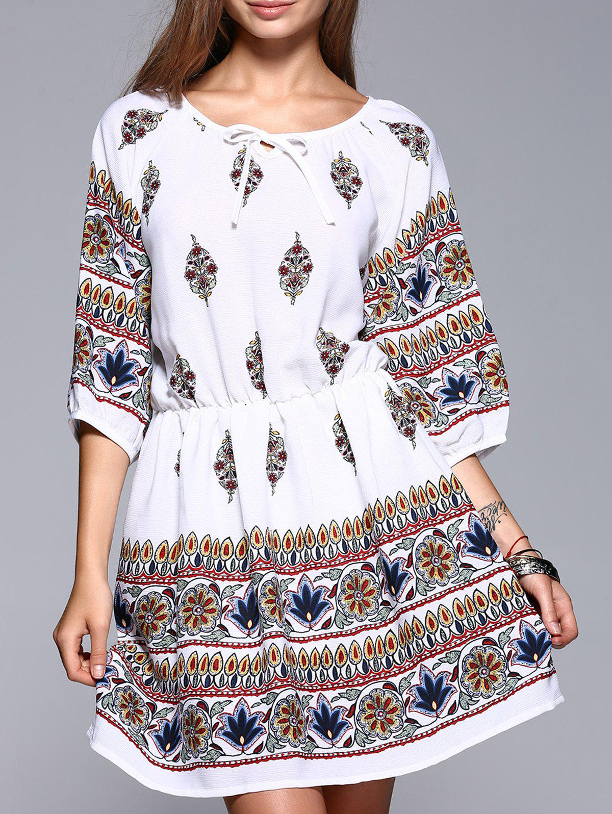 Ethnic Style Waisted Floral Pattern Lace-Up Dress - WHITE S