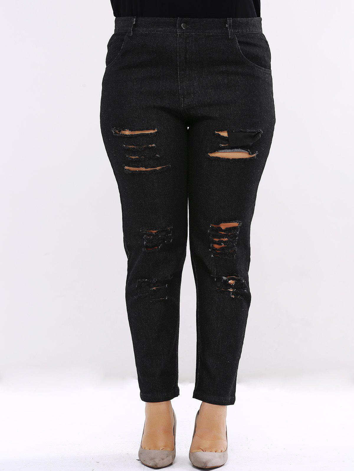 Plus Size Chic Ripped Black Jeans - BLACK 5XL