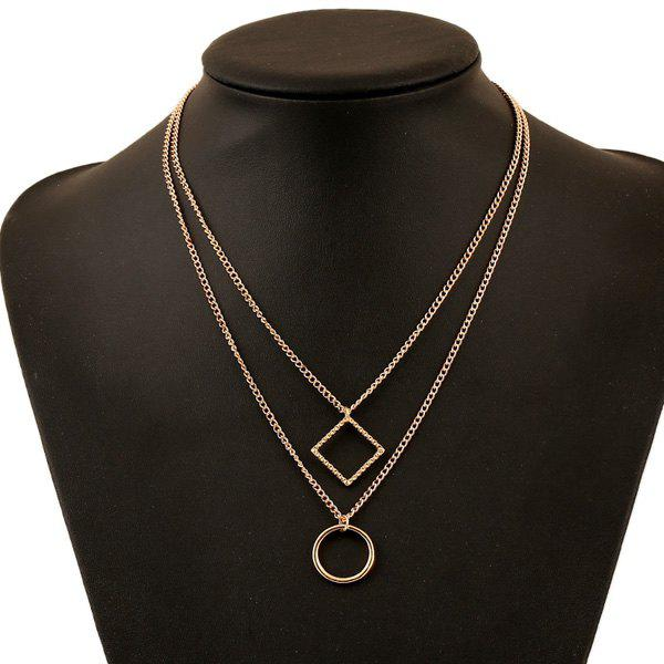 Square Circle Multilayer Pendant Necklace - GOLDEN
