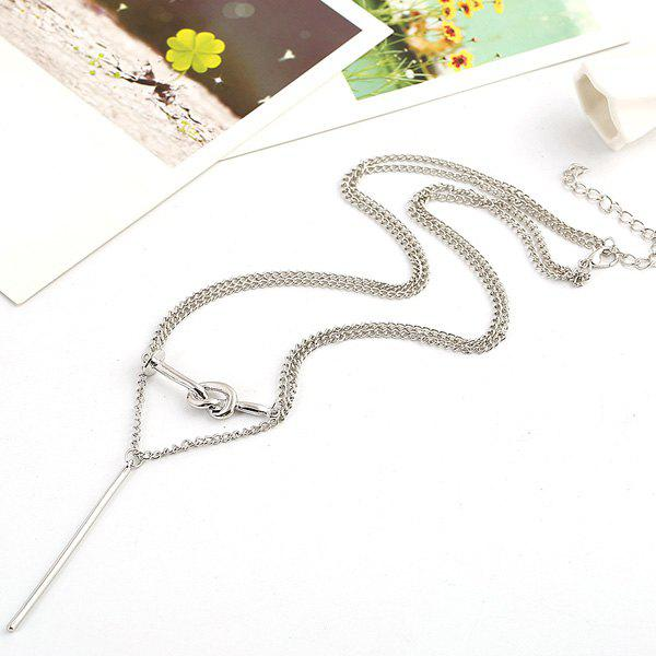 Vintage Knot Stick Layered Pendant Necklace - SILVER