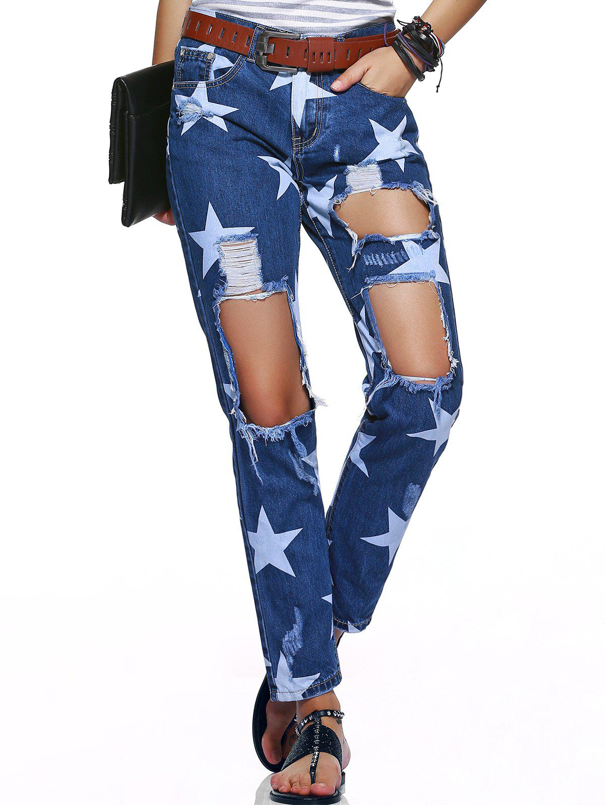 Star Hole Ripped Distressed Jeans - DEEP BLUE 44