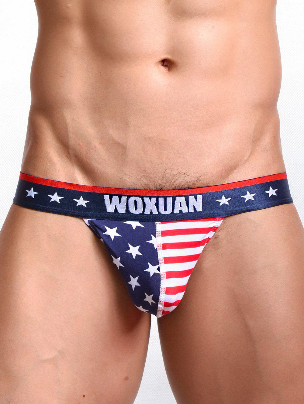 U Pouch Design Star and Stripe Bandage Men's Briefs - RED XL