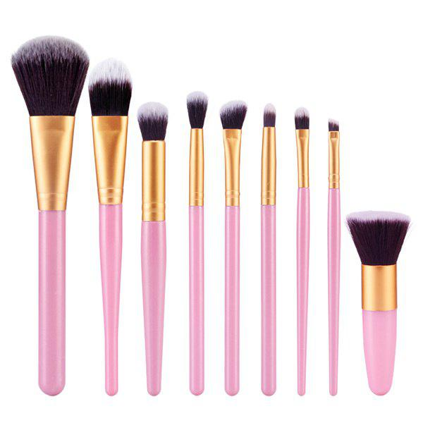 Professional 9 Pcs Nylon Face Eye Lip Makeup Brushes Set - PINK