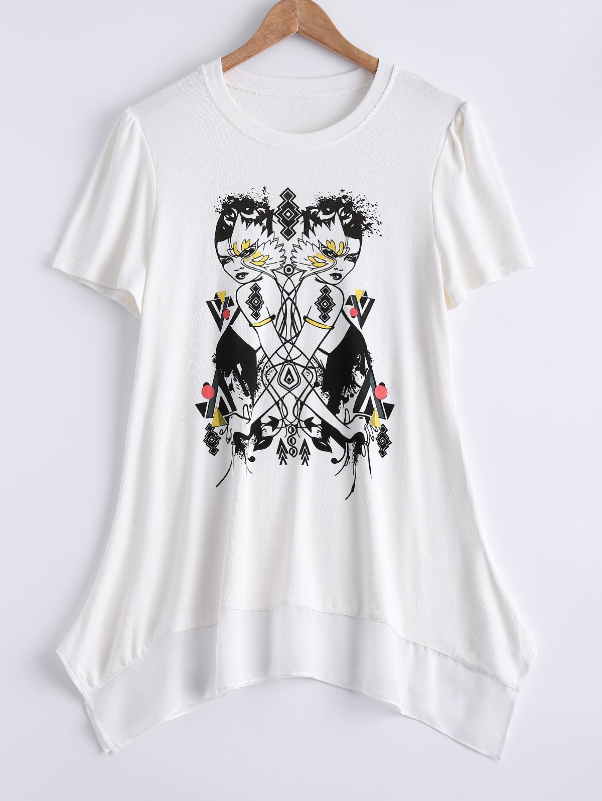 Plus Size Trendy Figure Print Asymmetrical Blouse