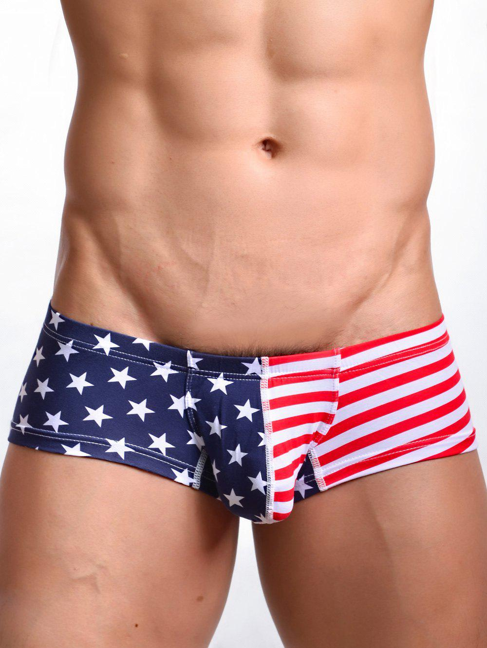 U Pouch Design Striped and Star Print Men's Trunk