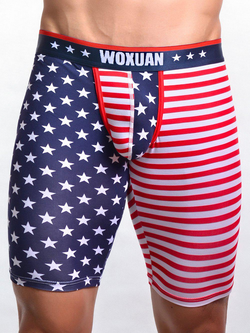 U Pouch Design Striped and Star Print Men's Fitted Shorts
