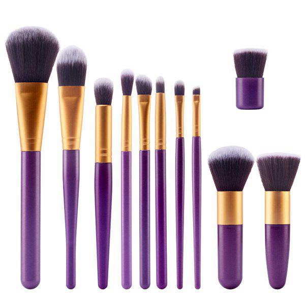 Professional 11 Pcs Plastic Handle Nylon Face Eye Lip Makeup Brushes Set - PURPLE