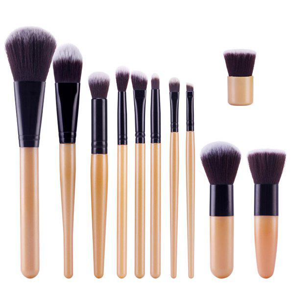 Professional 11 Pcs Nylon Face Eye Lip Makeup Brushes Set - GOLDEN