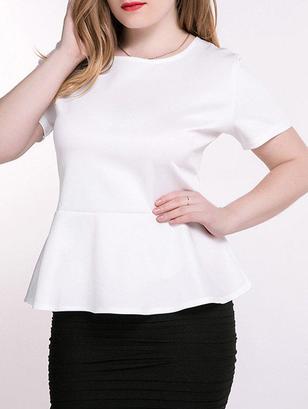 Plus Size Peplum Blouse - WHITE 3XL