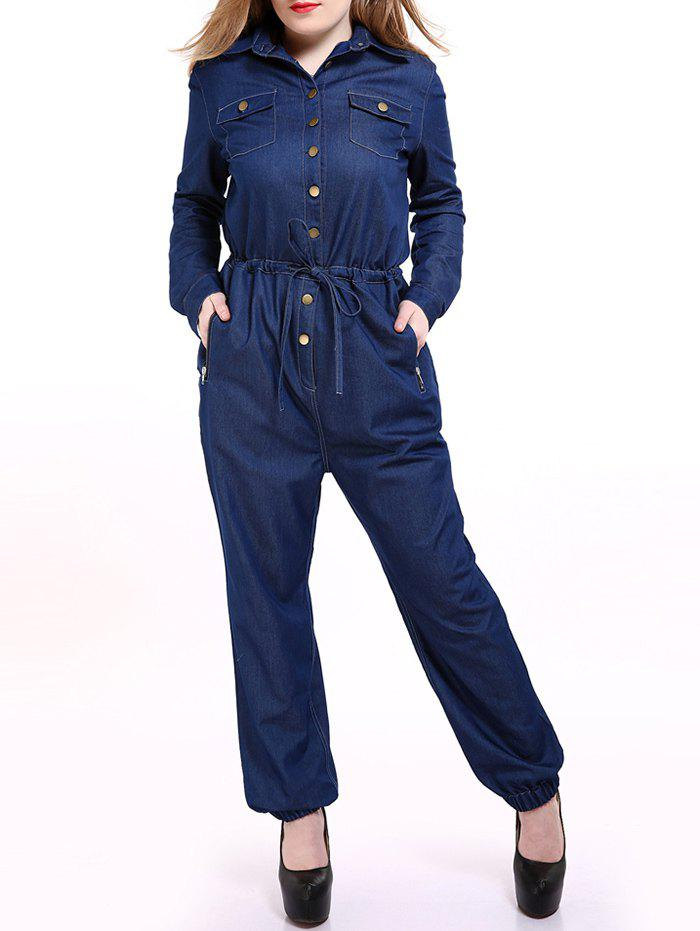 Plus Size Casual Mechanic Simple boutonnage Jumpsuit - Bleu L