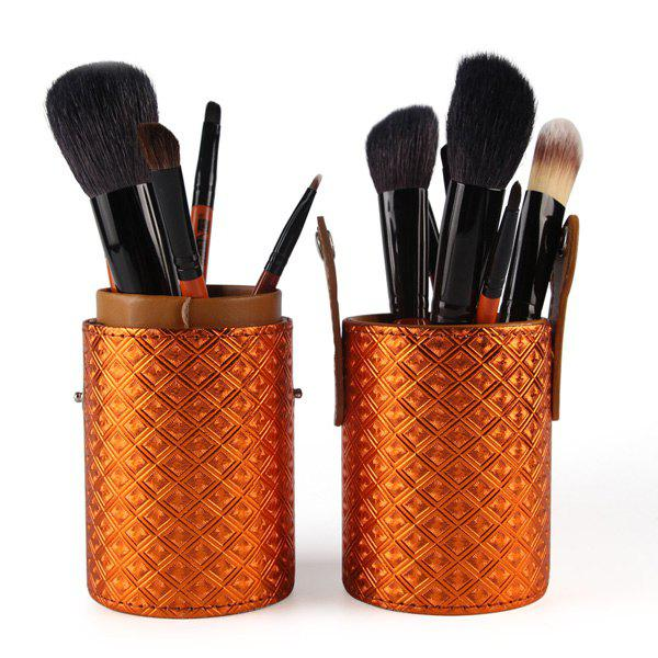 Professional 12 Pcs Goat Hair Pony Hair Face Eye Lip Makeup Brushes Set with Brush Holder - ORANGE
