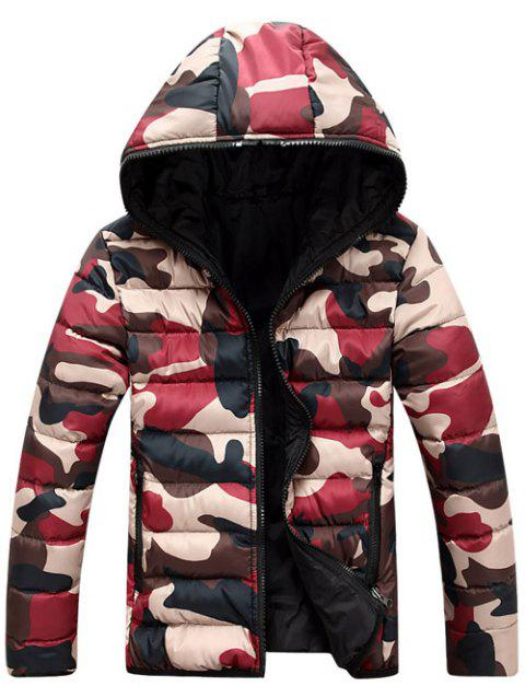 Camo Zip Up Double Sided Wear Men's Hooded Padded Coat - RED 2XL