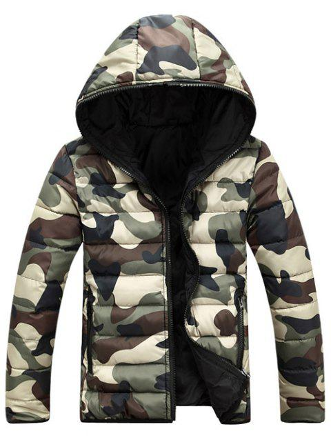 Camo Zip Up Double Sided Wear Men's Hooded Padded Coat - GREEN L