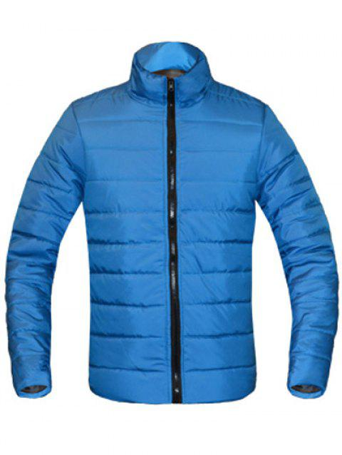 Solid Color Zip Up Stand Collar Long Sleeve Men's Padded Coat - LAKE BLUE M