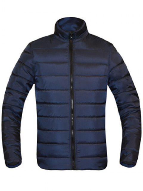Solid Color Zip Up Stand Collar Long Sleeve Men's Padded Coat - CADETBLUE M