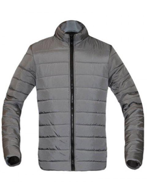 Solid Color Zip Up Stand Collar Long Sleeve Men's Padded Coat - GRAY M