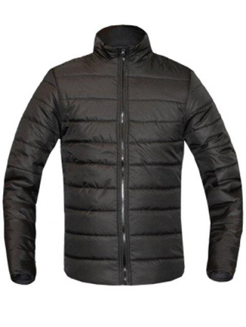 Solid Color Zip Up Stand Collar Long Sleeve Men's Padded Coat - BLACK 2XL