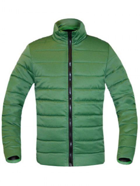 Solid Color Zip Up Stand Collar Long Sleeve Men's Padded Coat - GREEN L