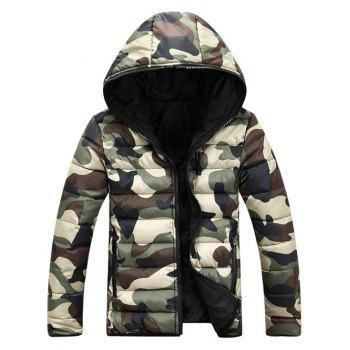 Camo Zip Up Double Sided Wear Men's Hooded Padded Coat