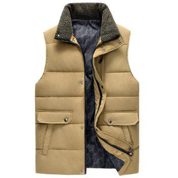 Snap Button Zippered Plush Stand Collar Men's Padded Waistcoat