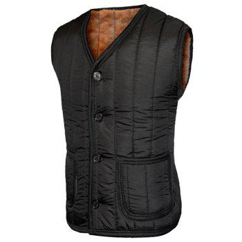Plush Inside Pocket Button Up Collarless Men's Vest