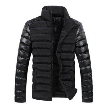 Leather Spliced Zippered Long Sleeve Stand Collar Men's Down Coat