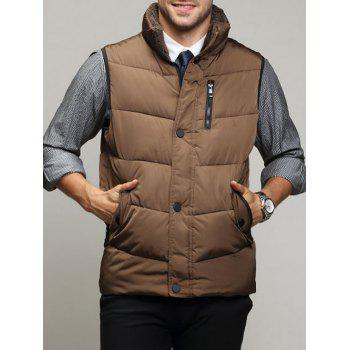 Zippered Snap Button Design Stand Collar Men's Padded Waistcoat