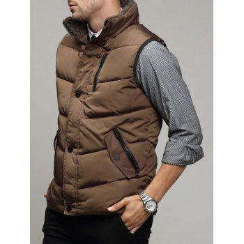 Zippered Snap Button Design Stand Collar Men's Padded Waistcoat - BROWN M