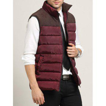 Zip Up Pocket Spliced Stand Collar Men's Padded Waistcoat