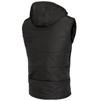 Snap Button Design Zip Up Hooded Men's Padded Waistcoat - S S