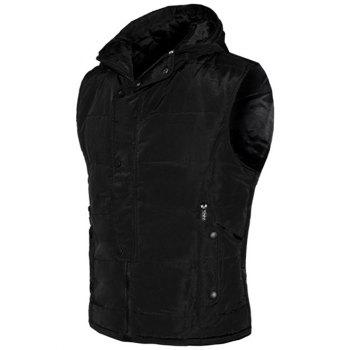 Snap Button Design Zip Up Hooded Men's Padded Waistcoat - BLACK S