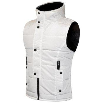 Snap Button Design Zip Up Hooded Men's Padded Waistcoat - WHITE WHITE