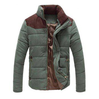 Buy Color Block Zipper Snap Button Stand Collar Men's Padded Coat ARMY GREEN
