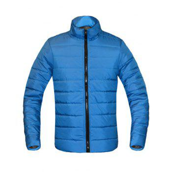 Solid Color Zip Up Stand Collar Long Sleeve Men's Padded Coat