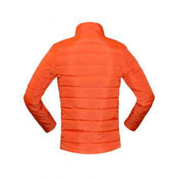 Solid Color Zip Up Stand Collar Long Sleeve Men's Padded Coat - ORANGE M