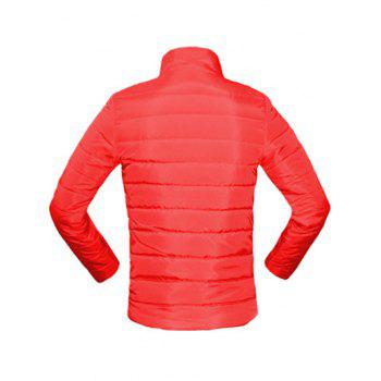 Solid Color Zip Up Stand Collar Long Sleeve Men's Padded Coat - RED M